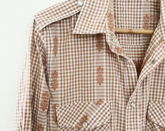 Mens press stud gingham western top
