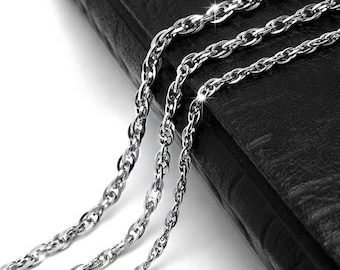 Mens Necklace Stainless Steel Chain, Bulk Chain, Jewelry Making Chain, Fine Chain,mens, Hypoallergenic, 2.5-3.5mm Links