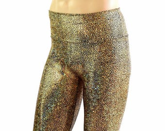 "Men's ""Sahara"" Shorts in Gold on Black Shattered Glass Holographic Spandex Dude Bro Man Festival Rave Shorts - 154545"