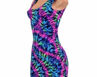 NEON UV Glow Tie Dye Print Lycra Spandex Bodycon Clubwear Tank Dress -150306