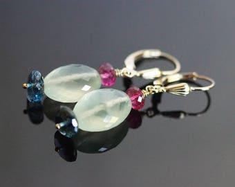 Prehnite earrings, London blue topaz earrings, Prehnite jewelry gift, blue topaz jewelry, tourmaline earrings, green earrings, lever back