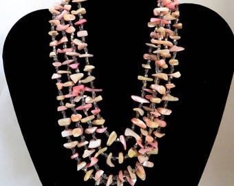 Japan Shell Necklace, Vintage MOP Multi-Strand Natural Pink Shell Island Style Necklace, Gift for Her