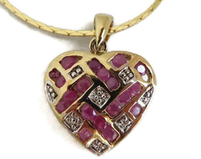 Ruby Diamond Heart Pendant, Gold Plated Sterling Silver Pendant Cobra Chain