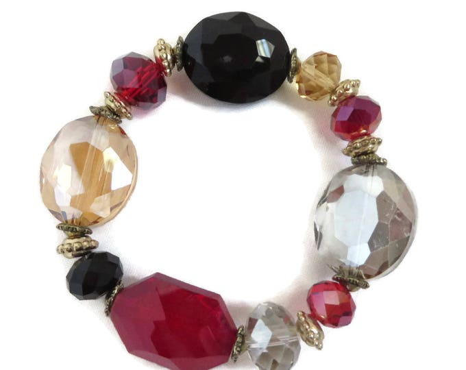 Vintage Chunky Bracelet - Beaded Stretch Bracelet, Multicolor Bangle, Champagne, Black, Red, Smoke Beaded Bracelet