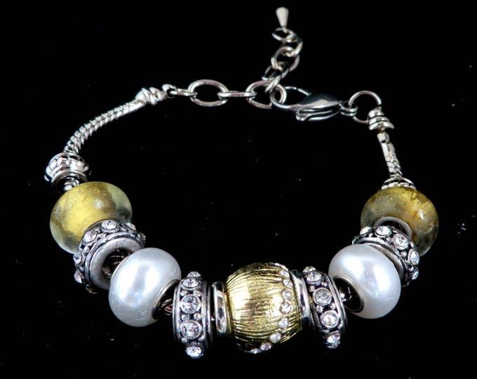 Vintage Sliding Beaded Bracelet -  Rhinestone Boho Two Tone Bracelet, Valentine's Day Gift