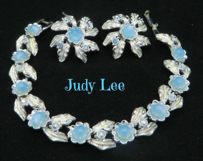 Judy Lee Demi Parure - Vintage Bracelet Earrings Set, Blue Moonstone AB Rhinestone Silver Tone Set, Perfect Gift, Gift Box