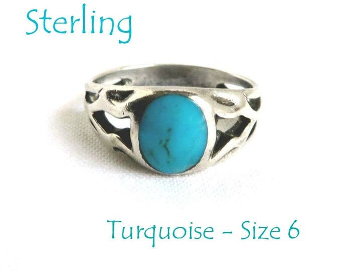 Sterling Silver Turquoise Ring - Vintage Sterling Cutout Band Ring, Size 6, Fun Gift, Gift Box