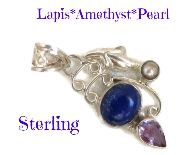 Sterling Silver Pendant - Lapis, Amethyst, Pearl Pendant, Vintage Necklace, Perfect Gift, Gift Box, FREE SHIPPING