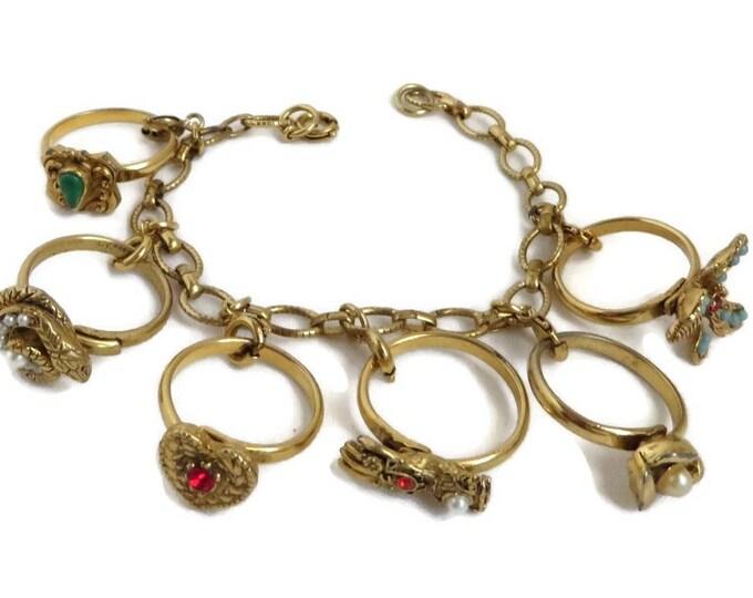 Vintage Charm Bracelet - Gold Tone Ring Charms Link Bracelet, Gift for Her