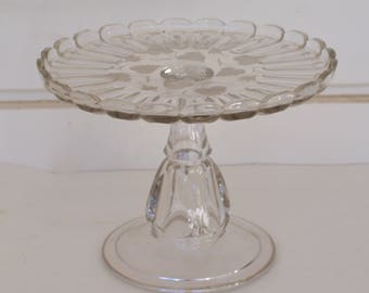 Pedestal Cake Plate, Small Pedestal Plate, Etched Glass Cake Stand