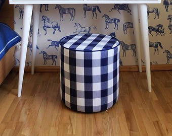 Check Round pouf, round ottoman pouf, Footstool, footstool, beautiful pouf, floor pouf, home decor pouf, housewarming ALD-0025