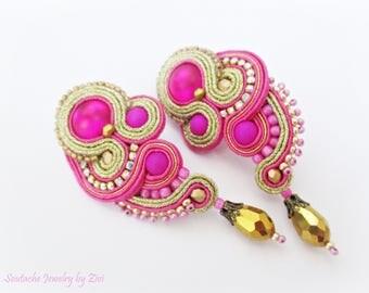 Fuchsia Gold Stud Earring, Short Soutache Earring, Hot Pink Clip on earring, Wedding Guest Bridal Jewelry, Long Pink Stud, Soutache Jewelry