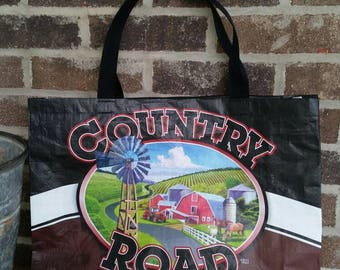 Repurposed, recycled, upcycled Country Road  chicken feed bag  tote bag GROCERY BAG