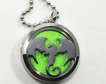 Stainless Steel Diffuser Necklace - Dragon - Fantasy Necklace - Gamer