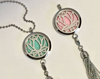 Lotus Blossom Diffuser Necklace - Namaste - Essential Oil Diffuser Locket - Tassel