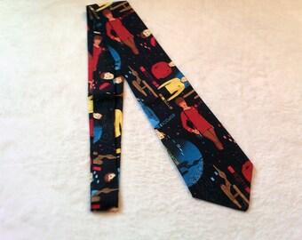 necktie or clip on tie made from Star Trek cotton fabric