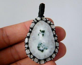 Solar Quartz Macrame Pendant, Solar Quartz Macrame Necklace, Healing Stone, Handmade - Solar Quartz Pendant, Macrame Jewelry SH-3982