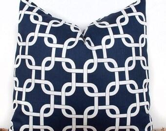 SALE ENDS SOON Geometric Navy Blue Pillow Cover, Lattice Pillow Case, 100% Cotton Pillow Cases, 18 x 18