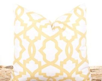 SALE ENDS SOON Yellow Pillow Covers, Yellow Lattice Throw Pillow, Sofa Cushion, Yellow and White Pillowcase, Soft Yellow Trellis Decorative