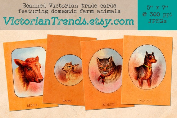 Victorian Farm Animals For Country Themed Rustic Style Crafts