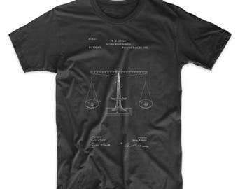 Scales of Justice Patent T Shirt, Law School Graduation Gift, Balance Scale, Chemistry Shirt, Mathematics, PP0084