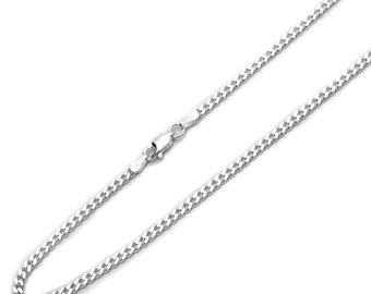 4mm 925 Sterling Silver Italian Solid Curb Link Chain Necklace made in italy(SNCP610081)