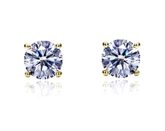 14K Yellow Gold Round Cut Cubic Zirconia Basket Setting Solitaire Stud Earrings(DJBRD2MMYGPU)