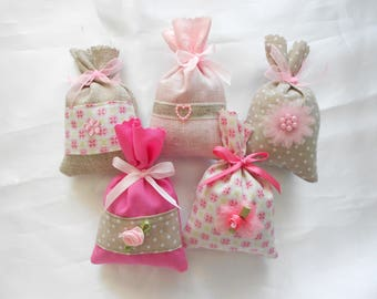 """Lavender bag from France - scented Sachet filled with Lavender from Provence """"Coll smooth Discrete"""" wedding guests, baptism gift..."""