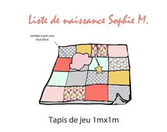 List feminized Sophie M - baby play mat - 'GraFiChouette' Collection