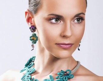 Soutache Choker. Soutache necklace. Soutache necklace. Necklace set and earrings in Soutache