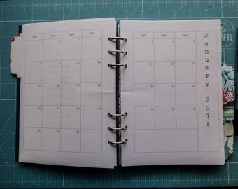 Yearly Diary Dated 2018 with UK Holidays Printed Insert, A5 or Personal, Filofax, Kikki K, Paperchase (RYD18)