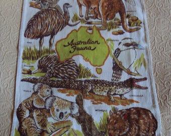 Vintage Australian fauna wildlife handprinted  linen tea towel koala platypus emu kangaroo crocodile wombat eagle kookaburra