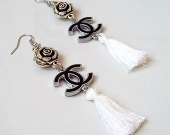 Chanel inspired earrings with white tassels