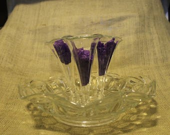 Epergne Bowl with 3 Flutes