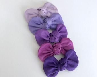 Shades of Purple Knot Bow Headband Set...Headband Set...Hairbows...Baby gift