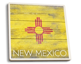 Rustic New Mexico State Flag - LP Artwork (Set of 4 Ceramic Coasters)
