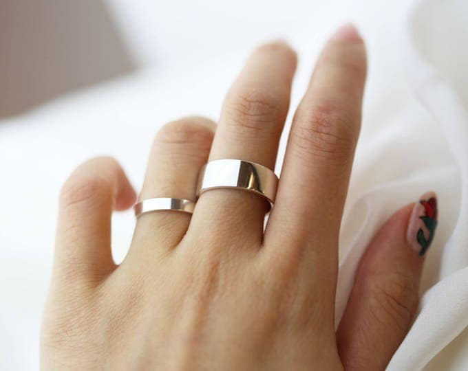 Personalized silver ring // Wedding band // Engraved rings // Stacking rings