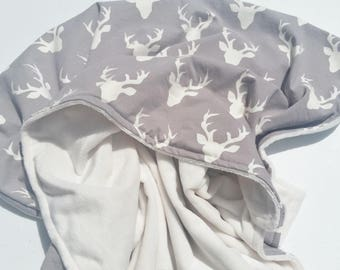 Gray & Ivory Antler Minky Baby Blanket - Gender Neutral - Ready to Ship