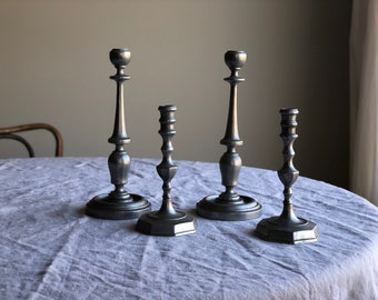 Pewter candlesticks, Tall Pewter Candlestick Holders, Set of 4