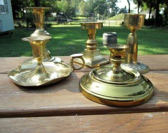 Five Vintage Short Brass Candleholders