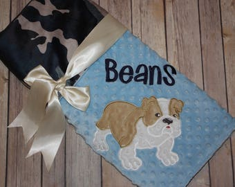 Bulldog Boy- Personalized Minky Baby Blanket - Embroidered Bulldog