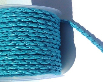 2 metres of turquoise blue braided faux leather cord