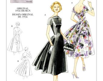 1084, Vogue, Retro 56' Dress, Swing Dress, 50's Evening Dress, Tie Back Dress, Raised-Neckline Rockabilly era 50's style dress Vintage Style