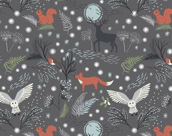 Lewis & Irene Countryside Winter C17-3 Animals Grey Patchwork Quilting Fabric