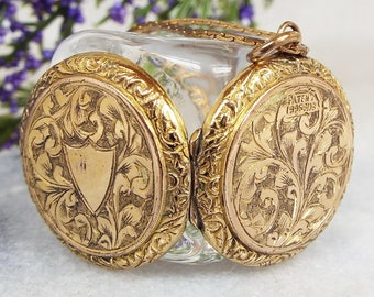 Antique Victorian Gold Ornate Engraved Swirls and Shield Locket Pendant Necklace
