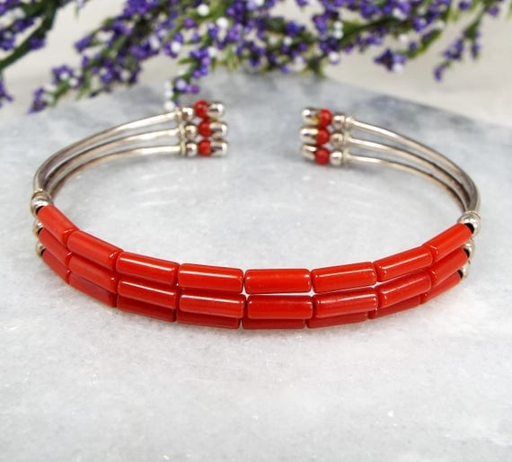 Vintage / Sterling Silver Tribal Style Coral Bead Cuff Bangle Bracelet 925
