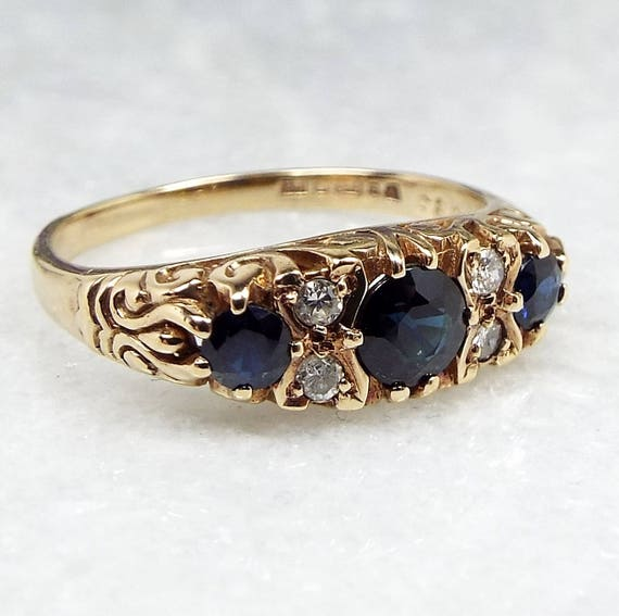 Vintage 1986 9ct Yellow Gold Ornate Victorian Style Sapphire Diamond Ring / Size N
