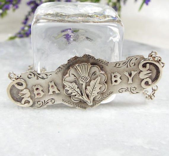Antique / 1898 Sterling Silver Scottish Thistle 'Baby' Plaque Pendant Necklace