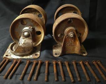 """Set of 4 Antique Vintage c1920 Fairbanks Factory Cart Cast Iron 6"""" Wheels HEAVY"""