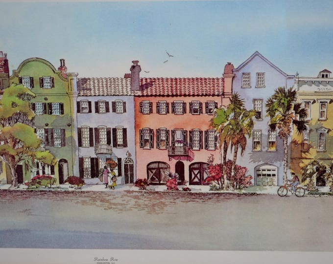 Vintage Charleston Rainbow Row Print Signed Virginia Fouche Bolton 1978 Framed Ready to Hang PanchosPorch